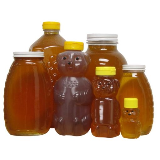 collection of honey containers 510x510 - 12 oz. Plastic Bear- Case of 12